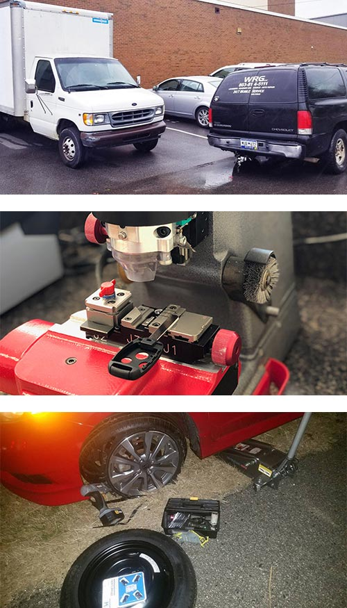 Some of our 24-hour locksmith services include lockout service (top), key cutting (middle), and roadside assistance for a blown-out car tire (bottom).