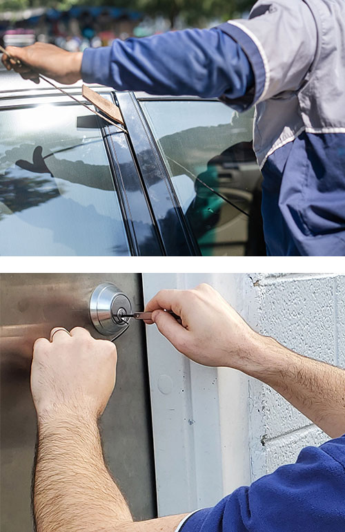 image of a locksmith using a wedge and long reach tool to open a car door (bottom), and a commercial deadbolt being picked with professional tools (bottom).
