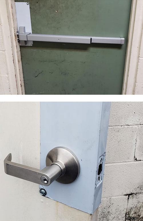 image of a new crash bar we installed (top), and a new commercial-grade handle we installed (bottom).
