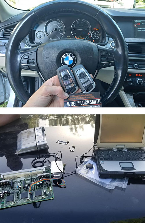 image of two new BMW fobs we programmed (top) and a car computer board that's being reprogrammed to work with brand new remotes (bottom).