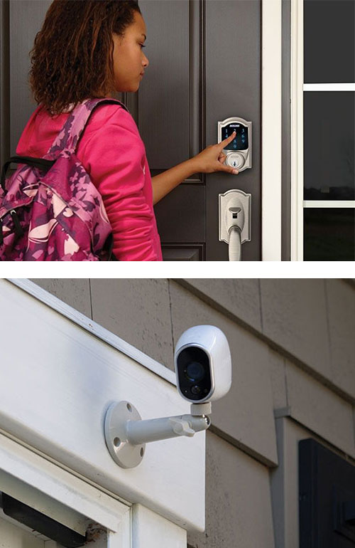 image of a young woman using the digital keypad of a Schlage SmartLock (top) and a residential security camera (bottom)