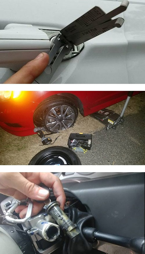 image of car door being picked (top) a blow out tire being replaced (middle), and an ignition lock being repaired (bottom).
