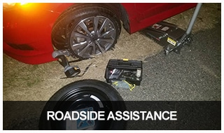 image of a car with a tire blowout that called us for roadside assistance